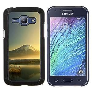 Mountain Lake- Metal de aluminio y de plástico duro Caja del teléfono - Negro - Samsung Galaxy J1 / J100