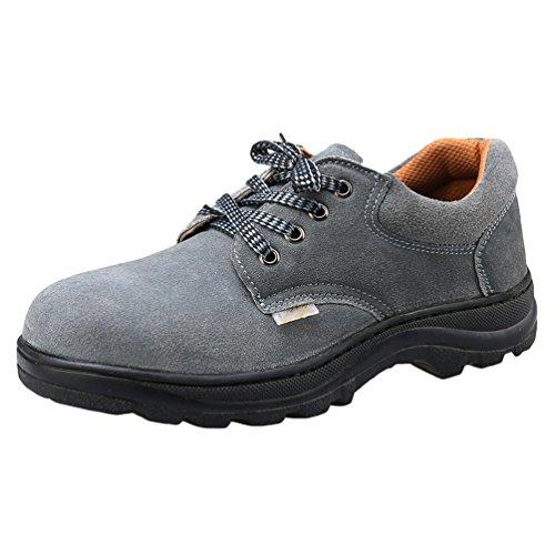 NiSeng Hombres zapatos de seguridad para construccion botas trabajo invierno zapatos proteccion laboral Gris