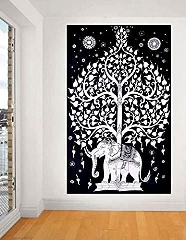 Good Luck Elephant Tapestry, Indian Tapestry, White Elephant Sheet, Twin Elephant Tree Tapestry, Indian Wall - Christmas Tree Tapestry