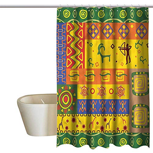 - Denruny Shower Curtains Navy Blue and Grey African,Tribal Animal Art Figures,W72 x L84,Shower Curtain for Women