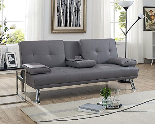 Bed Sofa Arm (Naomi Home Futon Sofa Bed with Armrest Gray)