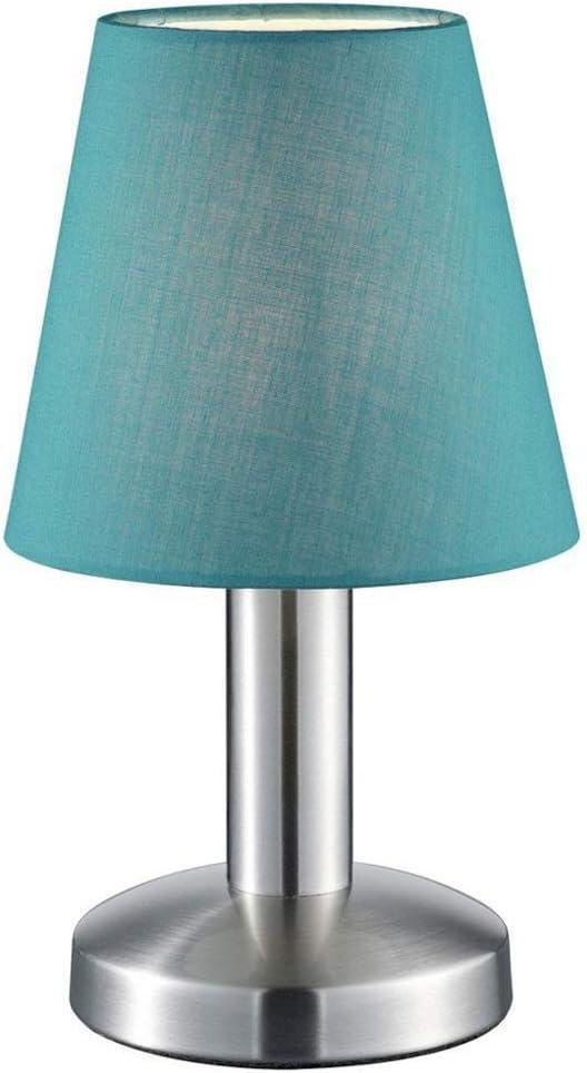 Pequeña lámpara de mesa Trio con bombillas E14, pantalla de tela ...