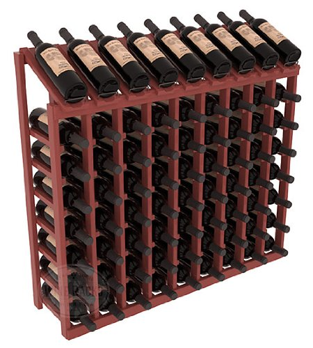 (Wine Racks America Ponderosa Pine 9 Column 8 Row Display Top Kit. Cherry Stain + Satin Finish)