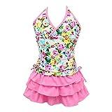 qyqkfly Girls' 2 Piece 4Y-15Y Florence Adjustable Tankini Swimsuit (FBA) (Medium(10), Pink)