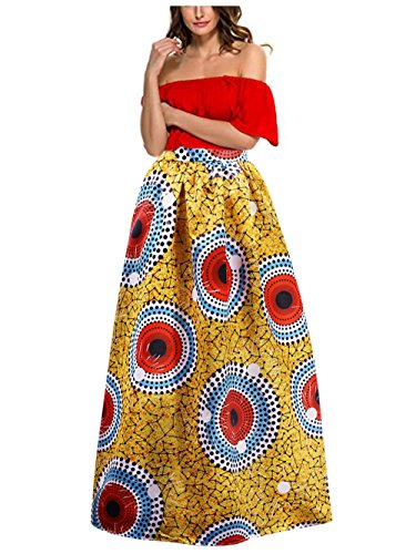 Price comparison product image BabyPrice 30 Styles Skirts Women Boho Maxi Skirt Glamorous Print Skirt High Waist Long Skirt Beach (XXL,  New 1)