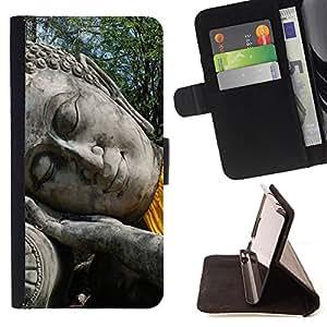 King Art - Premium-PU-Leder-Prima caja de la PU billetera de cuero con ranuras para tarjetas, efectivo Compartimiento desmontable y correa para la mu?eca FOR HTC One M7- Buddha