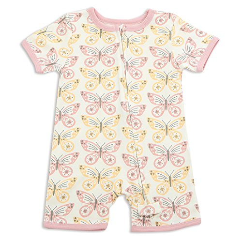 004025c1460 Silkberry Baby Organic Short Sleeve Romper With Zipper Butterfly 6-12m