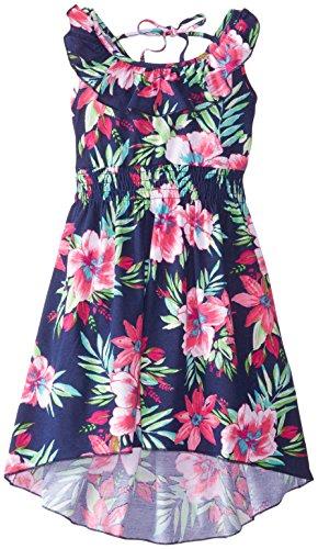 Zunie Big Girls' Printed Knit Dress, Navy Hibiscus, 8