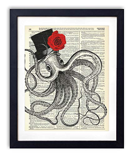 (Gentleman Octopus With Red Rose Vintage Upcycled Dictionary Art Print - 8x10 inches)