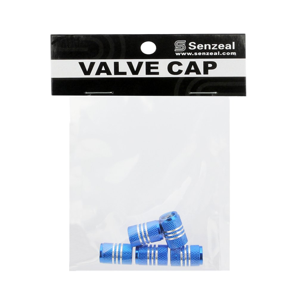 Senzeal 5x Silver Sided Aluminum Alloy Round Style Tire Valve Caps Dust Cover Blue