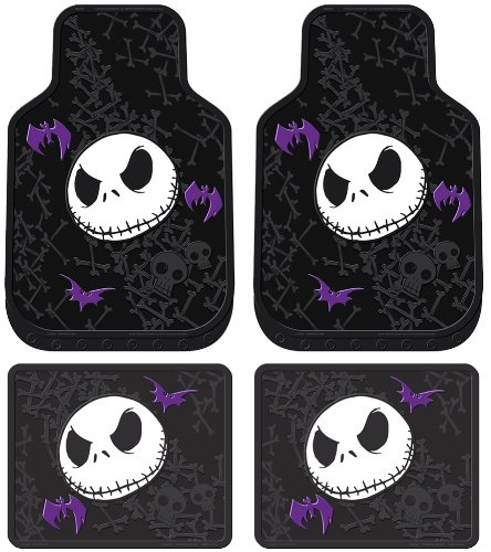 Nightmare Before Christmas Jack Skellington Purple Bats and Cross Bones Tim Burton Disney Front & Rear Car Truck SUV Seat Rubber Floor Mats Set – 4PC