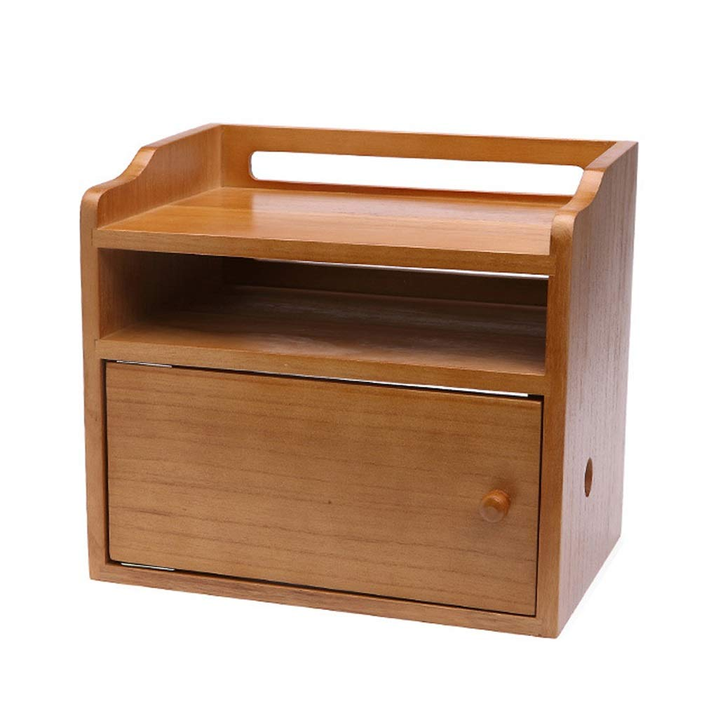 Tmpty Multifunction Desk Organiser Shelf with Storage,Compact Locker,3 Layer,Wooden,Wood Color,32×21.5×28.5cm by Tmpty