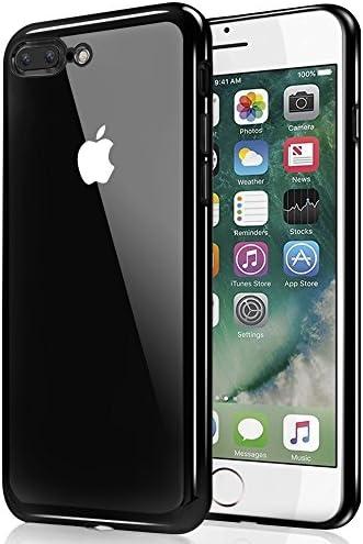 iPhone 7 Plus Hülle, Ubegood Kratzfeste Plating TPU iPhone 7 Plus Bumper Case Weiche Silikon Hülle TPU Schutzhülle Kristall Tasche Klar Hülle Durchsichtig Handyhülle für iPhone 7 Plus (Jet Schwarz)