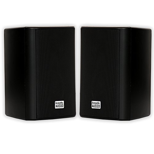 Acoustic Audio AA351B Indoor/Outdoor Speakers, Black, Set of 2 (Patios On Budget A And Decks)