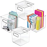 mDesign Plastic Office Supply and Home Desk Storage Shelf Cubical Organizer Cube Bins Totes Caddy for Pens, Pencils, Markers, Highlighters, Tape Accessories - Set of 4, Clear