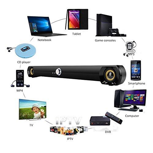 Saxhorn Mini Soundbar Speaker for Computer Desktop Laptop PC, USB Powered, Black by Saxhorn (Image #4)