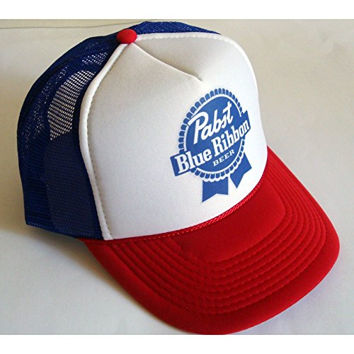 Pirate Cap Pistol - Retro PBR TRUCKER HAT Pabst Blue Ribbon Beer Cap Snapback Mesh Baseball Funny