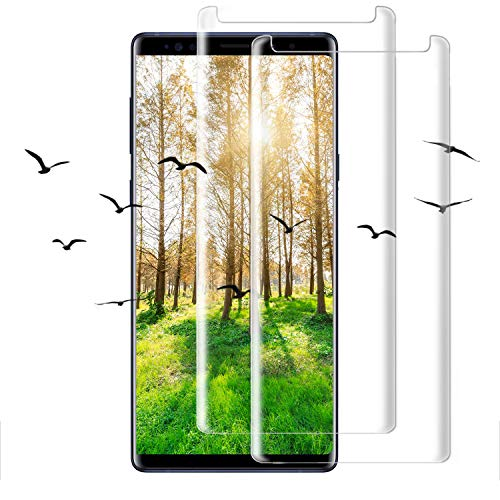 [2-Pack] Galaxy Note 9 Screen Protector, Full Coverage Scratch Proof 3D Curved Edge Screen Protector, HD 9H Tempered Glass Film Screen Protector Fit Compatible with Samsung Galaxy Note 9