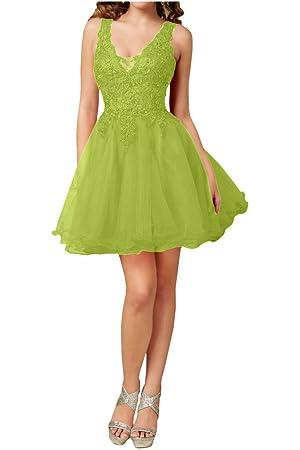Avril Dress Elegant Lace A-Line Cocktail Bridesmaid Double V Neck Dress New-16-Olive