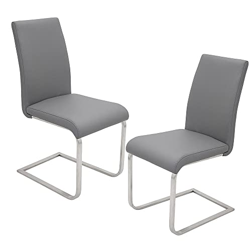 Best Master Furniture Mirage Faux Leather Parson Dining Chairs – Set of 2, Gray