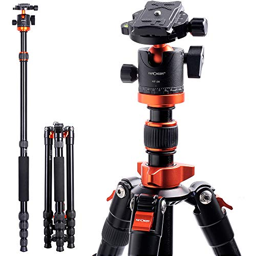 K&F Concept TM2515M1 67 inch Compact Lightweight Aluminum Travel Tripod 10kg/22lbs Load Capacity,with Monopod 360…