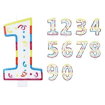 Vela de Cumpleaños Número 7 con Divertidos Colores: Amazon ...