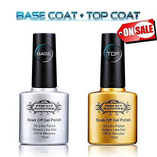 Perfect Summer Clear Base Coat And Top Coat Set - UV/LED Soak Off Gel Nail Polish Set,10ml each