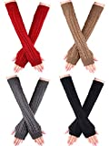 Bememo 4 Pairs Women Long Fingerless Gloves Winter Mitten Arm Gloves with Thumb Hole (Color Set 9, Long Type)