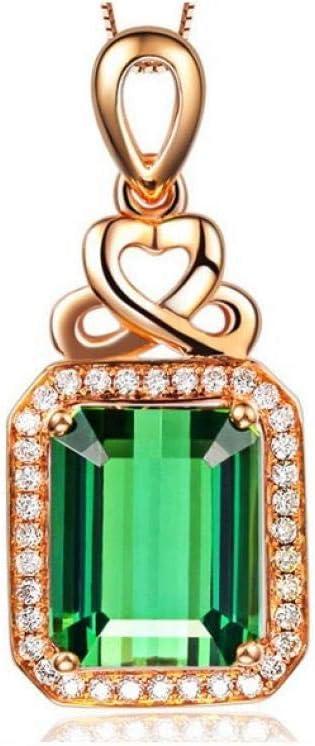NEGJSDFG Collar Colgante Esmeralda Plateado Plata 18K Color Oro Rosa Piedra Preciosa Verde Turmalina Color Cristal Collar Brillante Elegante Hermosa Delicada Joyería Femenina