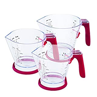 Zyliss 3-Piece Measuring Cup Set with No Drip Spouts, Sliding Scales with Measurements and Non-Slip Handles, Acrylic