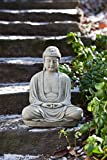Campania International OR-127-GS Temple Buddha Statuary, Small, Grey Stone Finish For Sale