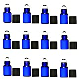 Elufly Cobalt Blue 1ML/2ML Thick Glass Roll On Bottles with Stainless Steel Roller Balls-2ML Dropper Included (12, 2ML)