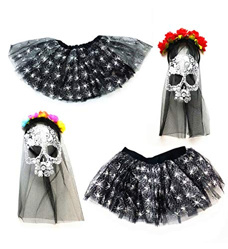 Mozlly Value Pack - Girls and Adult Stretchy Spider Web Black Tutus and Day of The Dead Skull Black Veils, Headpiece Mask Halloween Costume (4 Items) -
