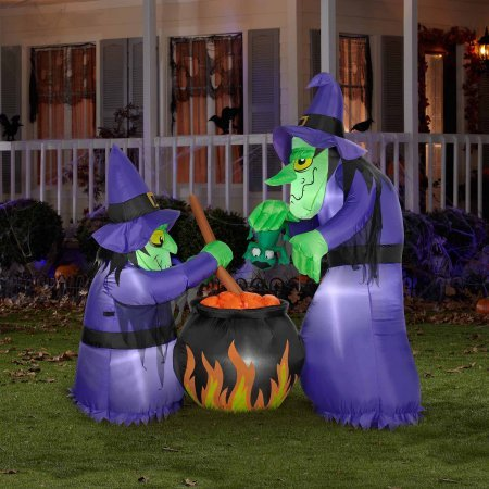 Airblown Halloween Inflatable 6'H x 4'W Airblown Halloween Inflatable Double Bubble Witches with