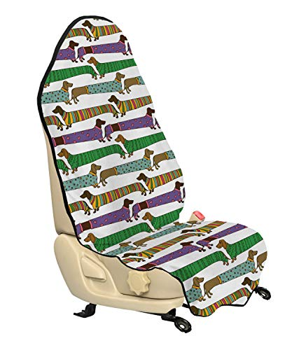 (Ambesonne Dog Lover Car Seat Hoody, Cartoon Style Dachshunds Dressed in Pyjamas Chevron Lines Polka Dots and Hearts, Car and Truck Seat Cover Protector with Nonslip Backing Universal Fit, Multicolor)
