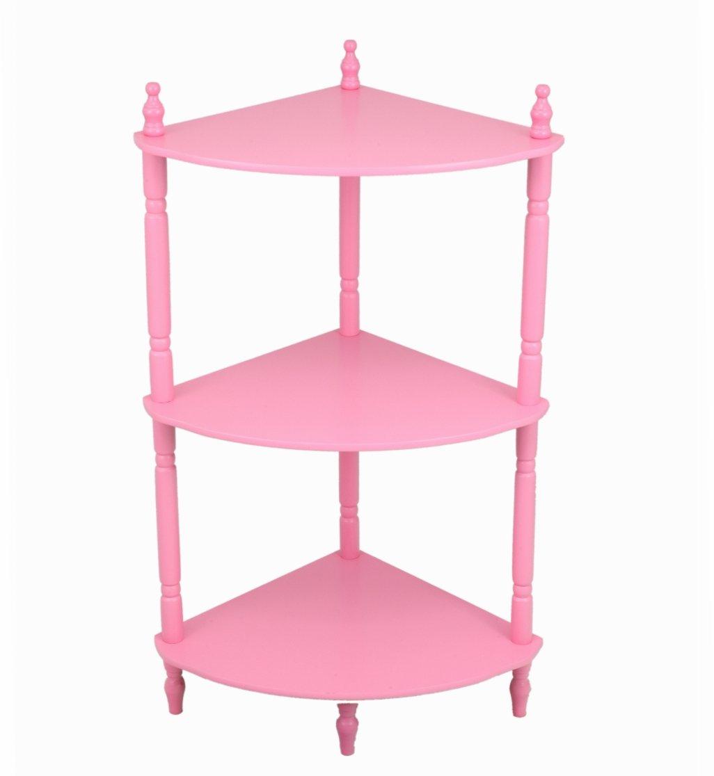Frenchi Home Furnishing Kid's 3-Tier Corner Shelves, Pink