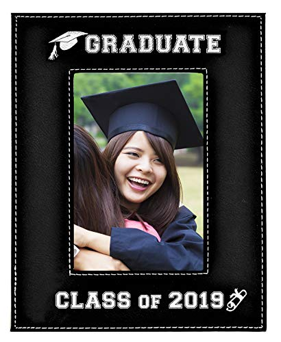 GIFT FOR GRADUATE / GRADUATION ~ Class of 2019 Picture Frame ~ Engraved Leatherette Graduation Picture Frame Elegant Black Frame Engraves in Silver Beautiful Display for Special Graduate (5x7-2019)