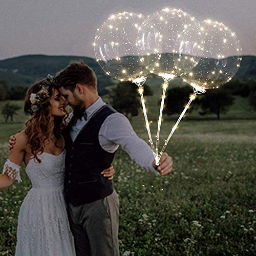 LED Balloon Lights, Elevin(TM) Reusable Luminous Led Balloon Transparent Round Bubble Decoration Party Wedding