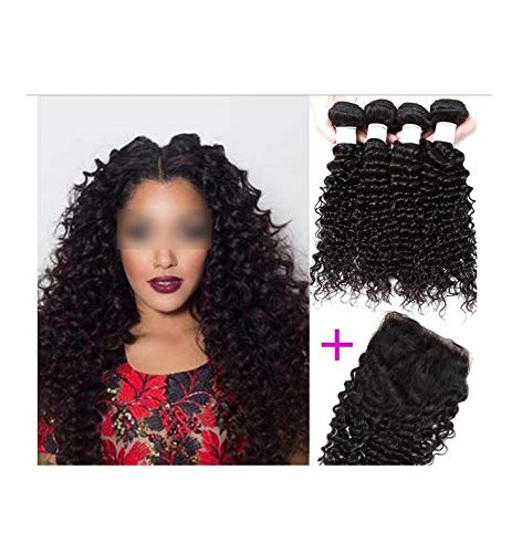 Deep Wave Hair Top Human Hair Bundles With Closure Free Part 3/4 Bundles With Closure Shuangya Remy Hair s,14 16 18 20 & -