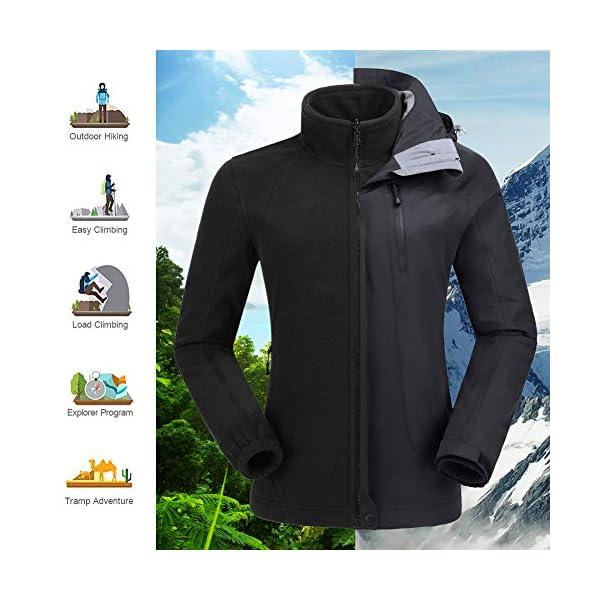 0781e0f5 CAMEL CROWN Women's Ski Jacket Winter Jacket Waterproof 3 in 1 ...