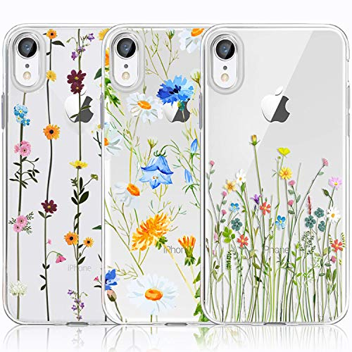 iPhone XR Case, iPhone XR Case with Flowers, [3-Pack] CarterLily Watercolor Flowers Floral Pattern Soft Clear Flexible TPU Back Case for iPhone XR 6.1 Inch (Cute Wildflower)