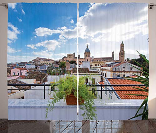 (Ambesonne Sicily Curtains, Panorama of The City of Palermo with Cloudy Sky Old European Town Buildings Photo, Living Room Bedroom Window Drapes 2 Panel Set, 108 W X 90 L Inches, Multicolor)