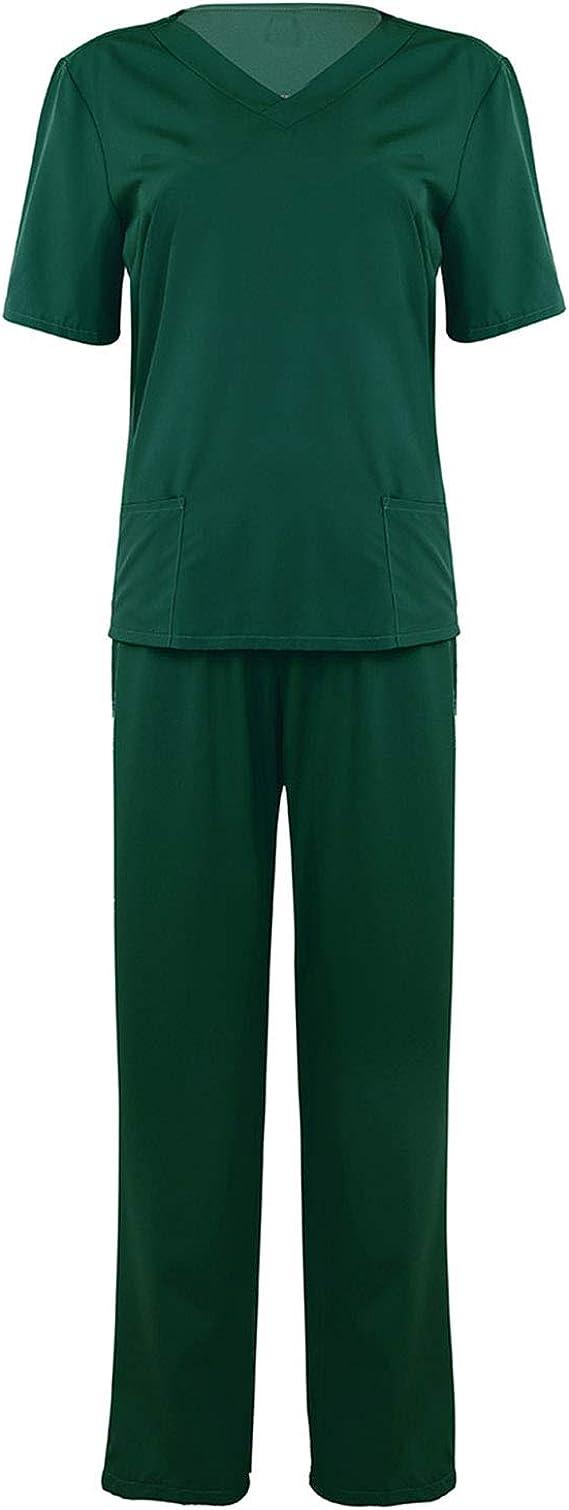 Chictry Uniforme Medico Camisa Top Manga Corta Y Pantalones Largos Elasticos Mujer Hombre Ropa Para Enfermeria Sanitaria Disfraz De Cirujano Doctor S 3xl Ropa Y Uniformes De Trabajo Camisas