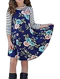 Girls Dresses Casual Fall Floral Holiday Dresses 3/4 Sleeve Swing Summer Dress