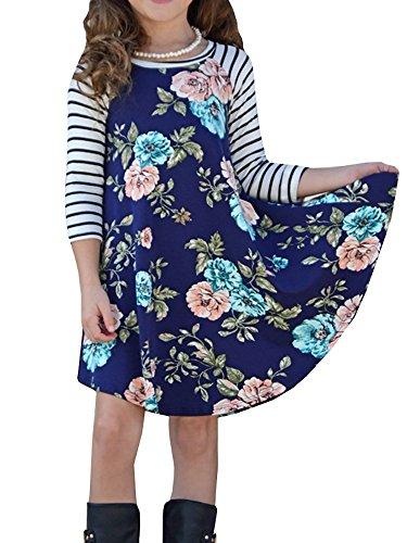 (Girls Dresses Casual Fall Dress Floral Long Sleeve Swing Summer Midi)
