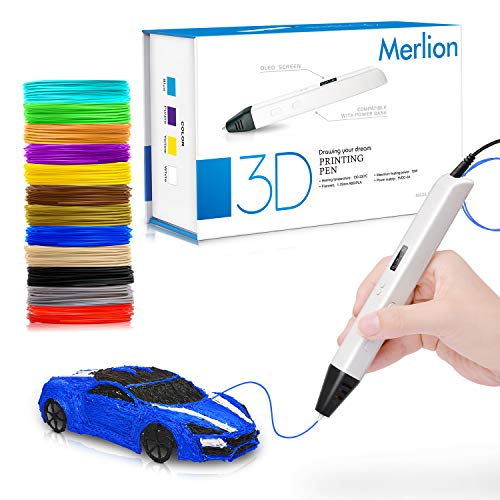 Merlion 3D Pen with Filament for Kids,Toys for Kids 3D Pen with 1.75mm PLA Filament Pack of 12, Each Color 10 Feet, 3D Printing Pen with OLED Screen is for Kids,Artist, Adults Upgraded