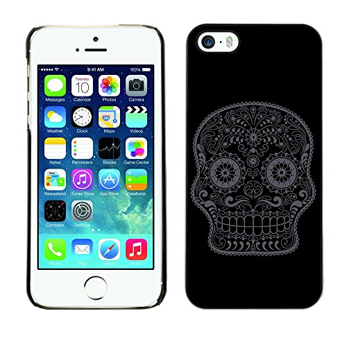 GIFT CHOICE / Mince Étui rigide Dur Housse de protection Slim Hard Protective Case SmartPhone Cover for iPhone 5 / 5S // Minimaliste Minimal Sugar Skull //