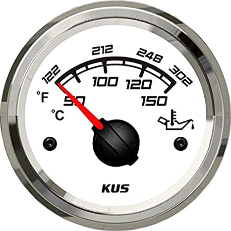 KUS Boat Engine Oil Temperature Gauge Marine Motor Oil Temp Indicator 52mm 12//24V 50-150℃