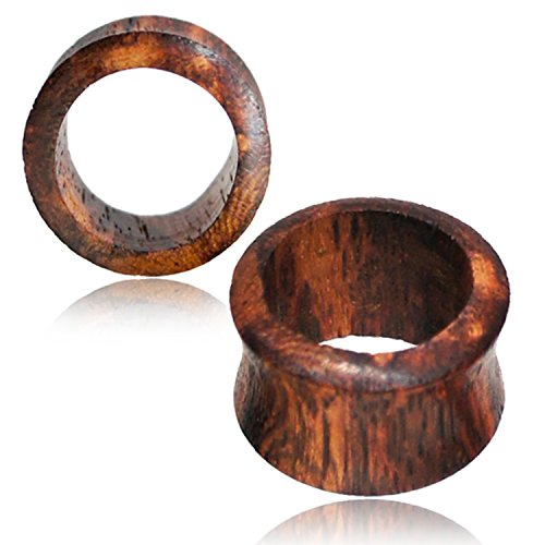 3 MM (8g) Organic Honey Wood Double Flared Saddle Ear Tunnels, Pair (Wood Organic Flared Plugs Double)