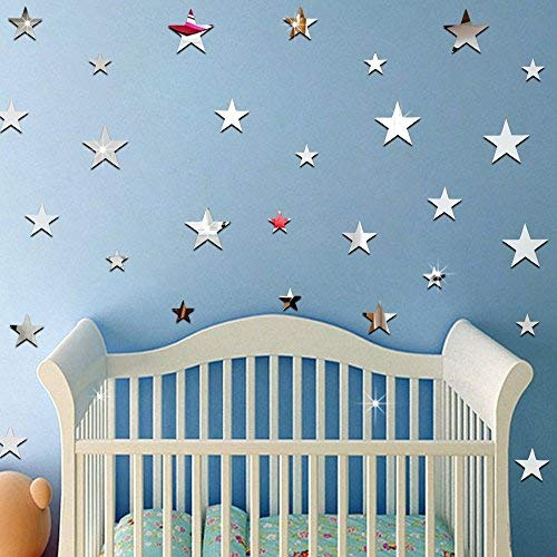 (Ufengke 20-Pcs 3D Star Diy Mirror Effect Wall Decals,Children's Room Nursery Fashion Design Art Decals Home Decoration)